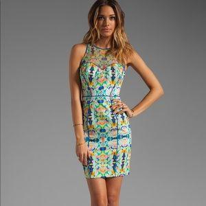 Milly Kaleidoscope Lapis Mesh Racer Dress 6 NWT
